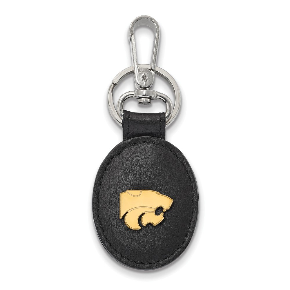Solid 925 Sterling Silver with Gold-Toned Kansas State University Blk Leather Key Chain