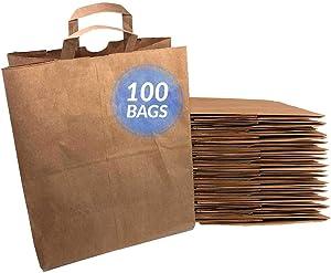 Reli. Paper Grocery Bags w/Handles (100 Pcs, Bulk)(12