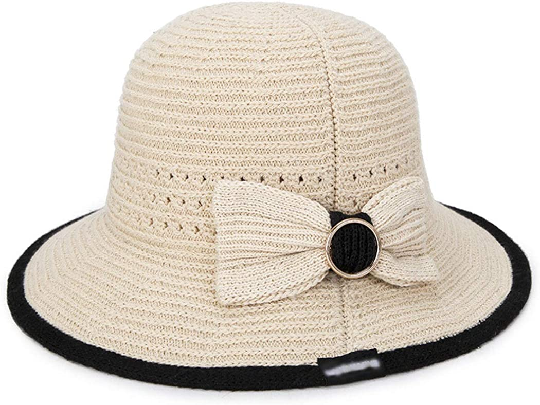 Breathable Bow Knitting Beach Hat Summer Foldable Portable Sunshade Hat Hollow Sun Hat