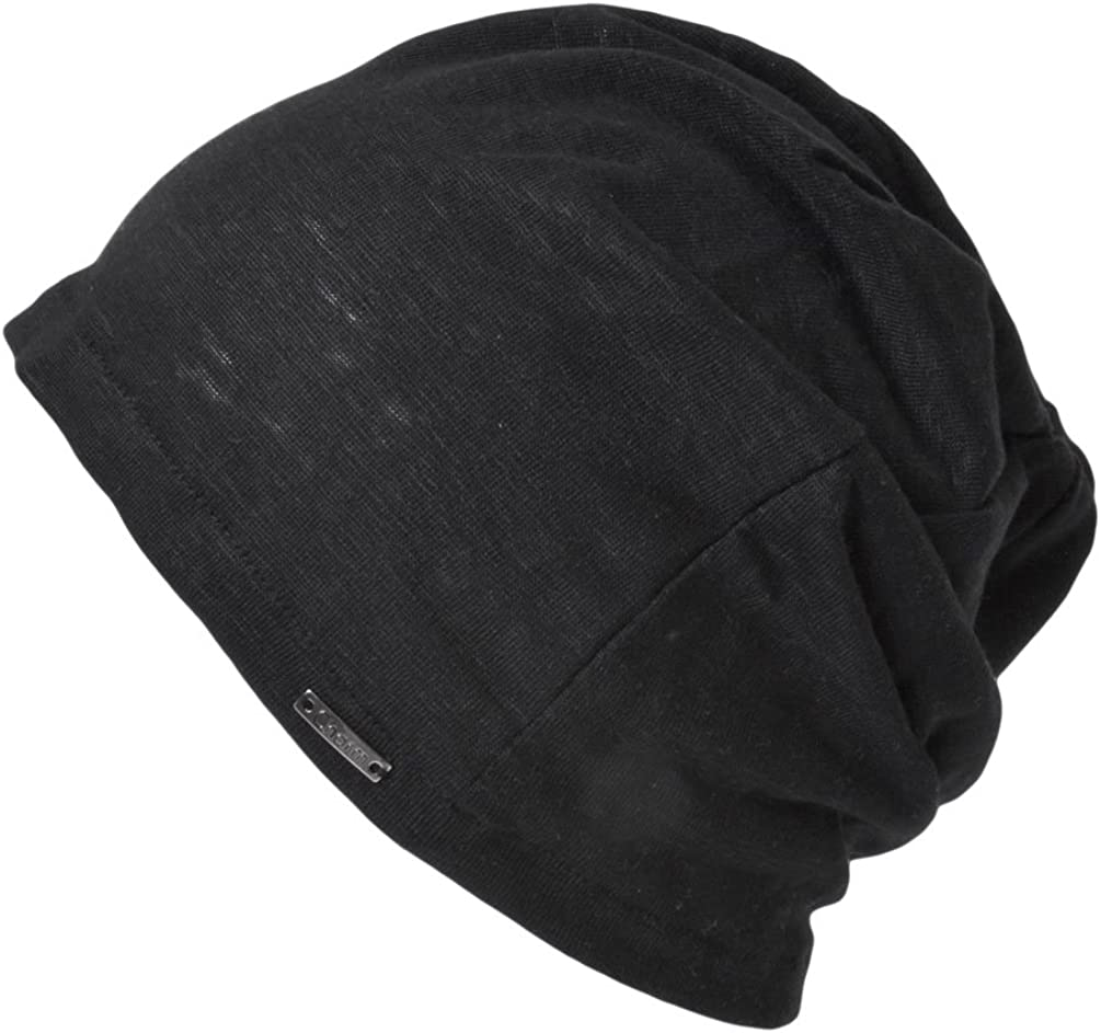 CHARM Mens Summer Linen Beanie - Slouchy Lightweight Knit Hat Slouch Cap Casualbox Black: Clothing
