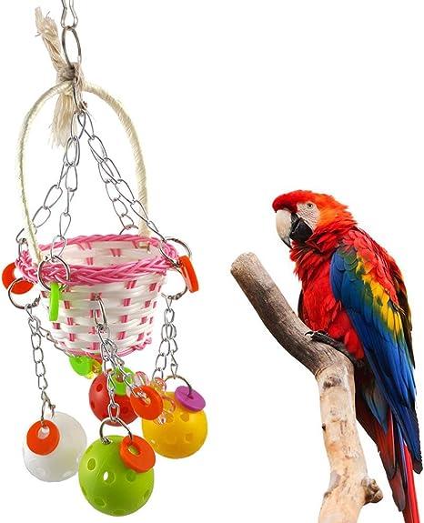 Bird Foraging Toy Food Dispenser Parrot Chew Interactive Play Toy Random