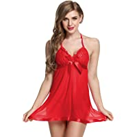 StylEra 142 Sexy Honeymoon Lingerie for Women/Ladies and Girls Nightwear Super Soft Net Babydoll Dress Sleepwear Naughty Bold Bridal Wear (Red)