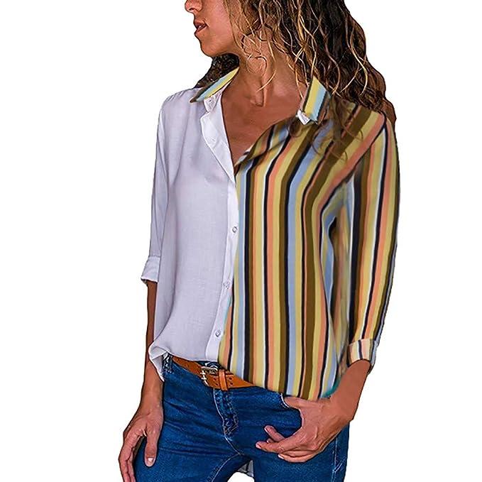 VJGOAL para Mujer de otoño Moda Casual Color Block Stripe Clásico Salvaje Solapa Botón Camisetas Camisetas de Manga Larga Blusa: Amazon.es: Ropa y ...