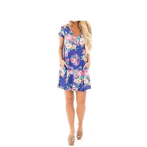 Eloise Isabel Fashion dress verão floral camisa impressão vestidos de vestidos das mulheres com decote em