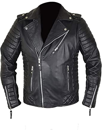Leather Creative Mens Motobike Biker Style Quilted Genuine Leather Brown Jacket Faux, Genuine