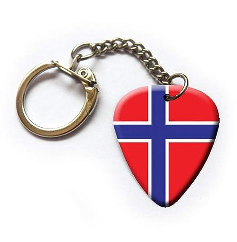 Llavero de púa de guitarra noruega con la bandera de Noruega ...