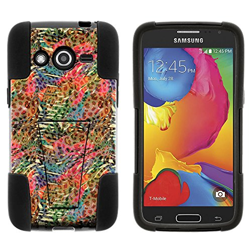 Samsung Galaxy Avant Case, Silicone Gel and PC Combination STRIKE Impact Kickstand Case with Dazzling Designs for Samsung Galaxy Avant SM-G386T (T Mobile, MetroPCS) from MINITURTLE   Includes Clear Screen Protector and Stylus Pen - Rainbow Animal Pattern
