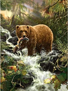 5D Diamond Painting Kits for Adults Kids, DIY Round Bear Full Drill Rhinestone Art Craft for Home Wall Decor 11.8 x 15.7inch