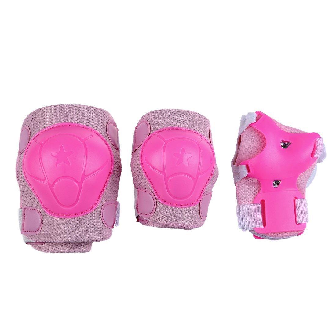 SODIAL(R) Cojines Protector para Rodilla Codo Muneca para Ninos - Rosa Claro H&PC-37960