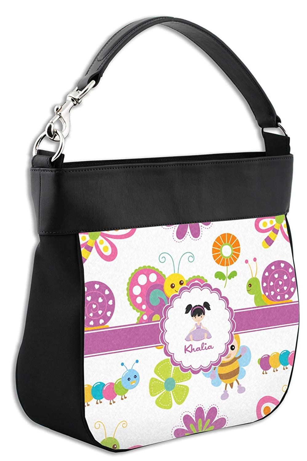Personalized Butterflies Hobo Purse w//Genuine Leather Trim Front /& Back