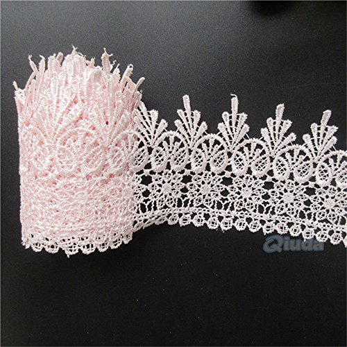 2 Meters Lace Edging Trim Ribbon 9 cm Width Vintage Pink Trimmings Fabric Flower Embroidered Applique DIY Sewing Wedding Bridal Dress Party Clothes Floral Embroidery Gift Craft Invitations -