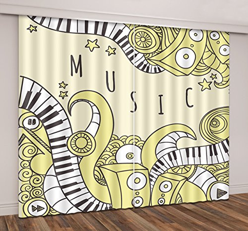 84' Dining Sets Pattern (Music Decor 3D Window Curtains By LB,Artwork With Print of Piano Keys Cartoon Pattern Window Treatment Curtains Living Room Bedroom Window Drapes 2 Panels Set,80W x 84L Inches)