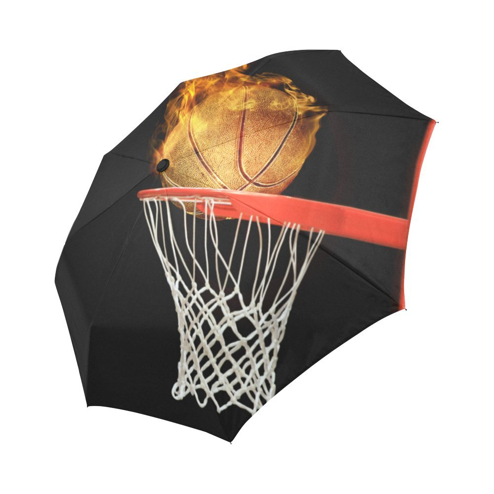 Outdoor Unbreakable Travel Umbrella InterestPrint Cool Sports Decor 3D Fiery Basketball Ball Flying to Hoop Windproof Compact Auto Open and Close Folding Umbrella