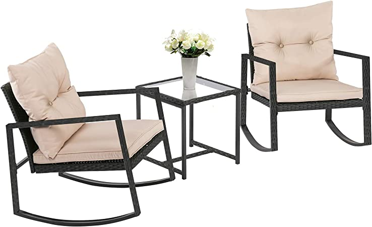 Amazon Com Fdw Wicker Patio Furniture Sets Outdoor Bistro Set Rocking Chair 3 Piece Patio Set Rattan Chair Conversation Set For Backyard Porch Poolside Lawn With Coffee Table Black Garden Outdoor