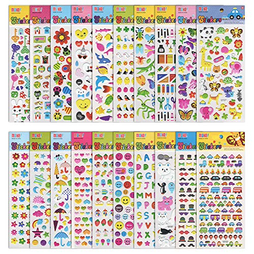 Kids Stickers 20 Individually Packaged Sheets of 3D Puffy Stickers for Kids Parents Teachers as Scrap-booking, DIY Projects, Rewarding or as Girl Boy Birthday Gift, Animals, Fishes, Hearts included