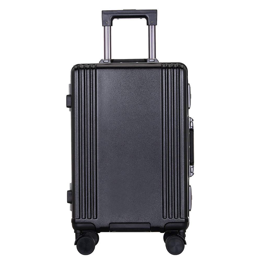 スーツケース TSAロックシェルハードシェルトラベルリースーツケースライトポータブルベルトコラムサイレントローテーター多方向航空機付きワンピース荷物 週末にスーツケースを運ぶ (色 : ブラック, サイズ : 24inches) B07SX6B1NG