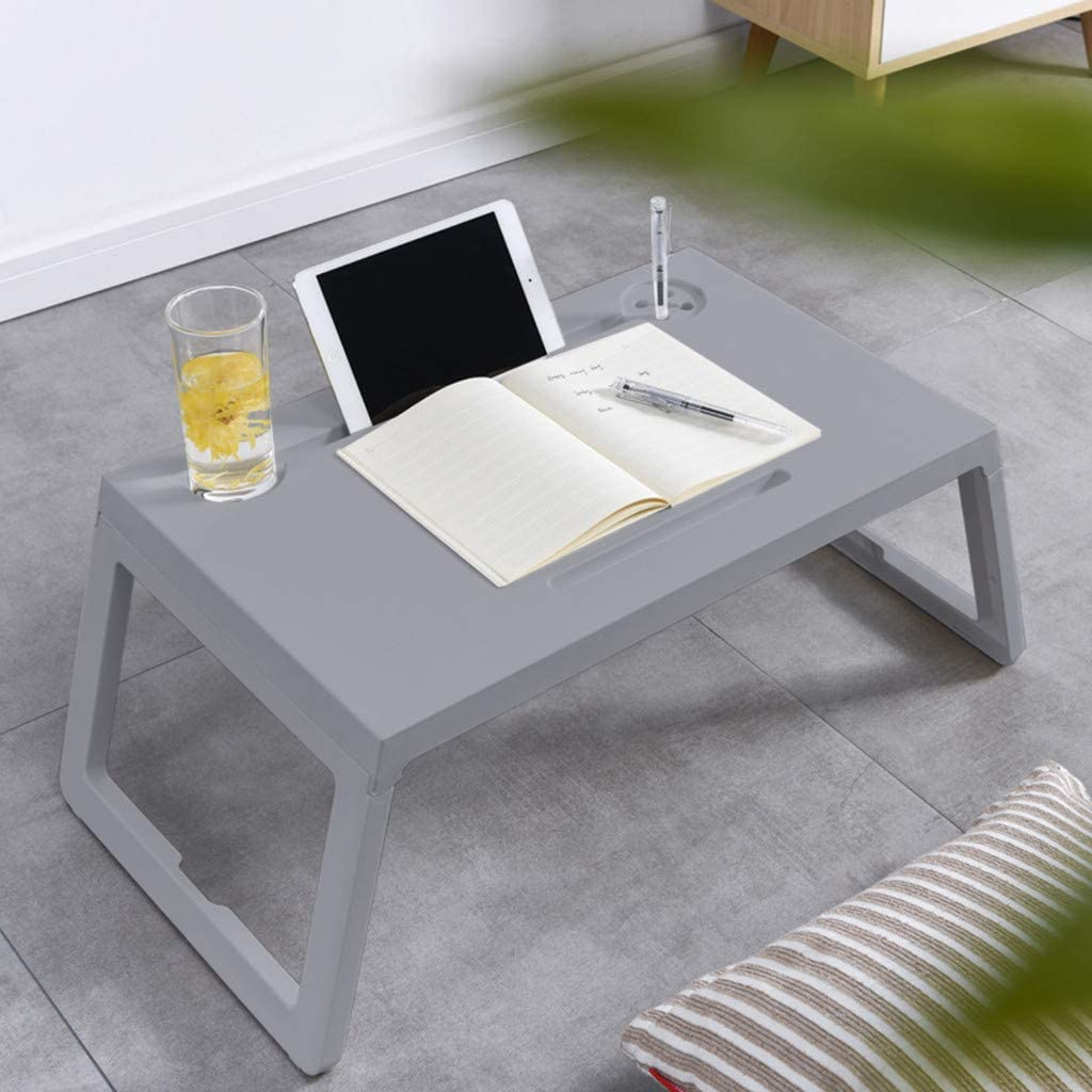 Folding Desk,Foldable Lap Desk,Laptop Table with Drawer,with Cup Holder and Pen Holder, Laptop Desk for Bed (Gray, 60 × 40 × 7cm)
