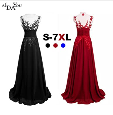 Plus Size Evening Long Lace mesh Women Dresses Vestido Prom Dress (7XL, Red) at Amazon Womens Clothing store: