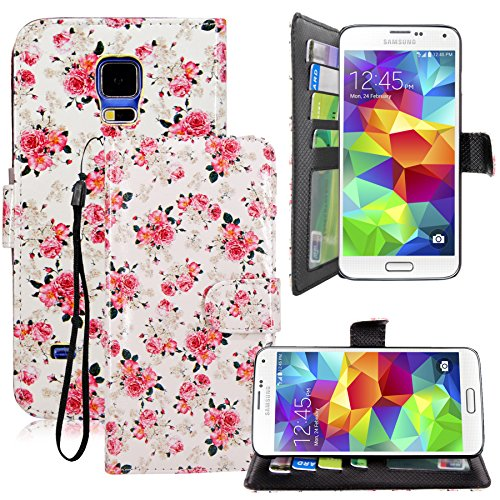 Galaxy S5 Case - Cellularvilla Vintage Pink Rose Flower Design Pu Leather Wallet Card Flip Open Pocket Case Cover Pouch For Samsung Galaxy S5 I9600