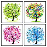 Four Seasons Tree 5D DIY Diamond Painting Cross Stitch Arts Craft Home Decoration Living Room Bedroom (4PC/Set)