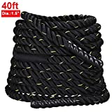 Yaheetech 1.5″ Width 40' Length Battle Rope Exercise Undulation Ropes for Strength Training and Body Workout w/protector magic tape sleeve Review