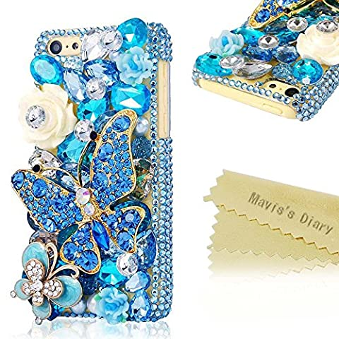 Mavis's Diary for Iphone 5C 3D Handmade Crystal Butterfly and Flower Bling Rhinestone Diamond Design Hard Cover Case with Soft Clean Cloth (Blue Butterfly Blue (3d Bling Cases For Iphone 5c)
