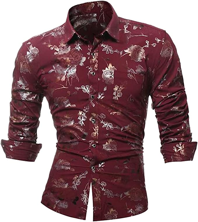 DFBB Men Stylist Work Stripe Regular Fit Business Long Sleeve Button Down Blouse Shirt