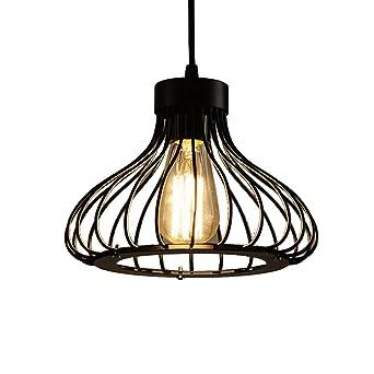 Retro LED Pendel Leuchte Metall Gitter Hänge Beleuchtung Ess Zimmer Decken Lampe
