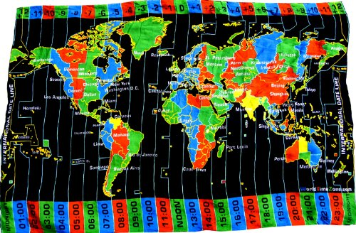Amazon.com : Black World Time Zone Map on Cloth- with Standard ...