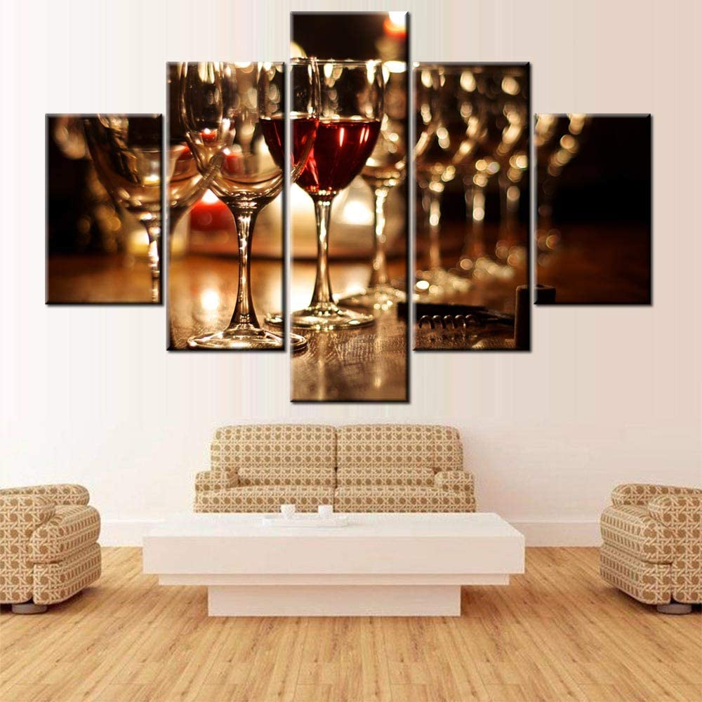 Pictures for Living Room Glasses of Red and White Wine Wall Art Winegalss Paintings 5 Piece Prints on Canvas Home Decorations Giclee Modern Artwork Gallery-Wrapped Framed Ready to Hang(60''Wx40''H)