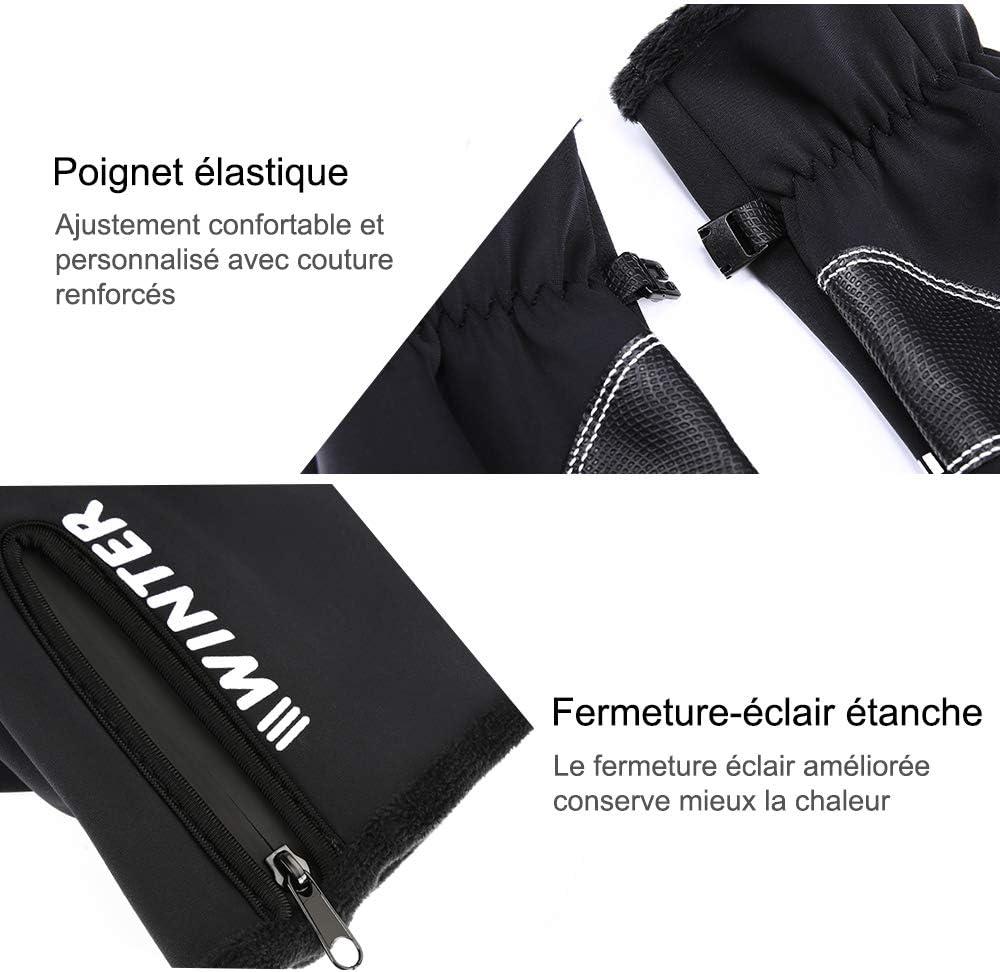Kungber Gants /écran Tactile Gants Hiver Chaud de V/élo VTT Ski Randonn/ée Gants Sport Anti-d/érapant pour Homme et Femme