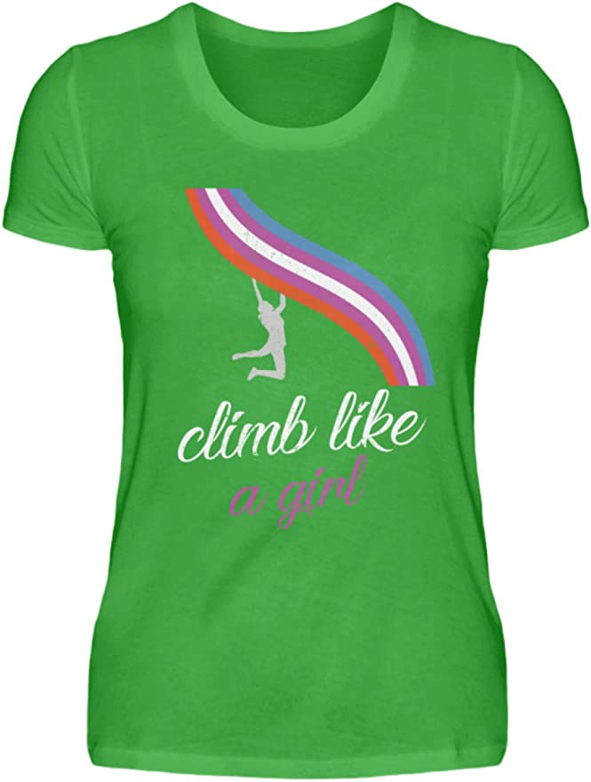 Climb Like a Girl - Camiseta de Escalada para Mujer Verde ...
