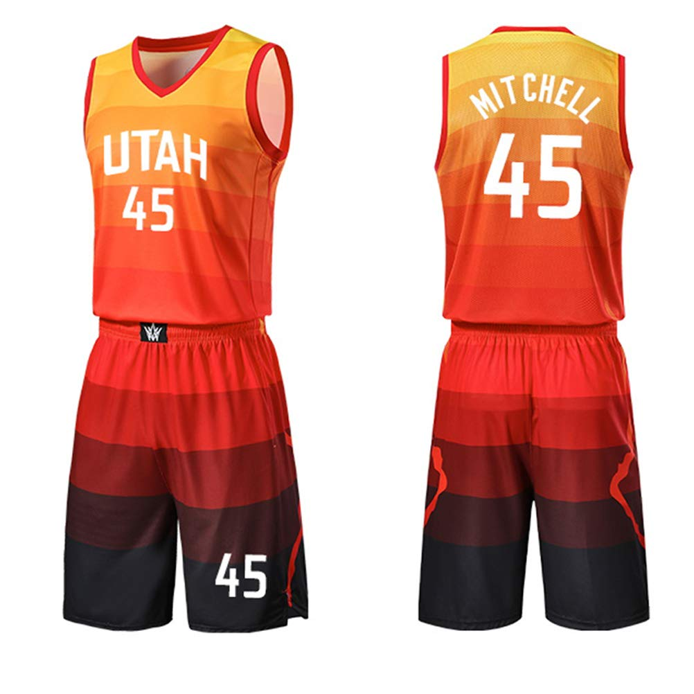 Set Senza Maniche Classico ZGJY Shorts in Jersey Utah Jazz Donovan Mitchell # 45 Basket per Uomo e T-Shirt da Basket Unisex T-Shirt con Cuciture Orange City Edition