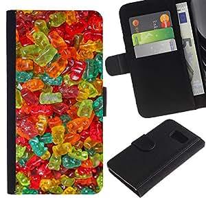 EJOY---La carpeta del tirón la caja de cuero de alta calidad de la PU Caso protector / Samsung Galaxy S6 / --gomosos dulces oso colores dulces alimentos