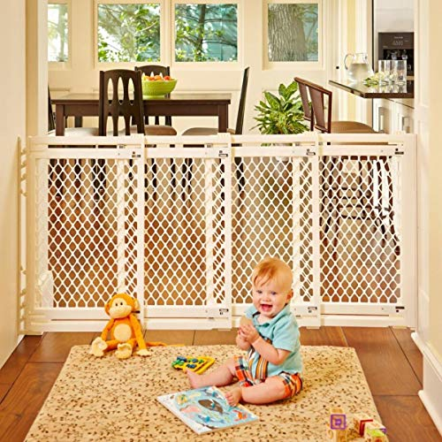 "North States 62"" Wide Extra-Wide Baby Gate: Smoothly Opens and Closes in Extra-Wide Spaces. Hardware Mount. Fits 22""-62"" Wide (31"" Tall, Ivory) from North States"