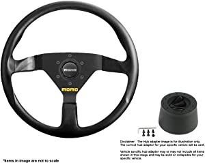 MOMO MOD.78 320mm (12.6 Inches) Leather Steering Wheel w/Brushed Black Anodized Spokes and Crowder's Hub Adapter for Alfa Romeo Spider Duetto Part # R1909/33L + 0512