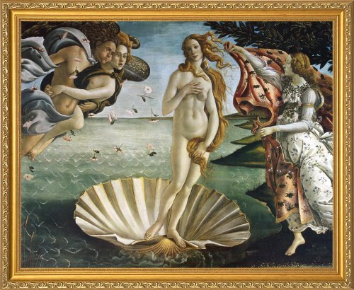 - The Birth of Venus by Sandro Botticelli Framed Art Print Poster Custom Made Real Wood Traditional Gold Frame (22 1/8 x 18 1/8)