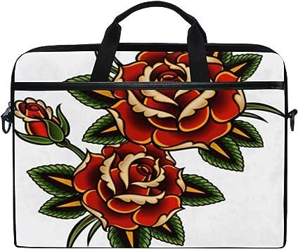 LOSNINA 15-15.6 Inch Bolsa de Ordenador,Flor roja Gráfico Tatuaje ...