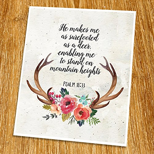 Psalm 18:33 He makes me as surefooted as a deer Print (Unframed), Watercolor Flower, Scripture Art, Bible Verse Print, Christian Wall Art, Word of Wisdom, 8x10