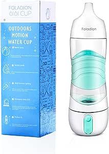 Foladion Smart Sports Water Bottle, Beauty Spray Moisturizing Skin, Night Light, SOS Warning Light, 2 Hours Drinking Remind, Humidifier, USB Recharging (Blue)