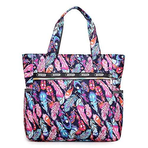 Zipper Beach Shoulder New Bag 8 Big JAGENIE Shopper Print Women Flower Nylon Bags 6 Capacity UfSxpqZ4w