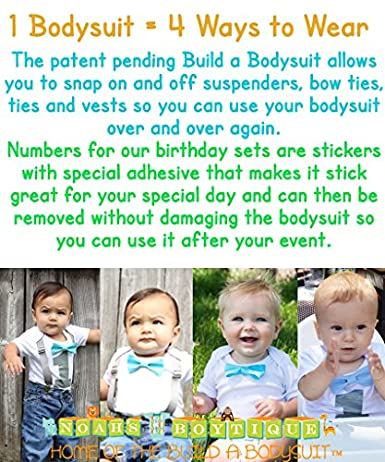ed03a5cc3d66 Amazon.com  Noah s Boytique Baby Boys First Birthday Outfit Primary ...