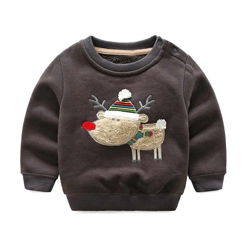 Top and Top Toddler Baby Boys Crewneck T Shirt Pullovers Fleece Sweatshirt Tops Blouse Cartoon Long Sleeve for 1-5T Kids (Chocolate, 90/18-24 Months)