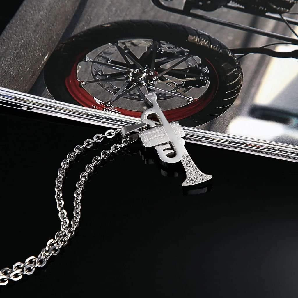LOPEZ KENT Jewelry Stainless Steel Mens Necklace Trumpet Shape Pendant Partner Chains Gothic Silver 1.6x4.8CM