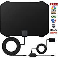 loverbeby Indoor Amplified HDTV Antenna 50 to 70 Miles Range w/ Detachable Amplifier Signal Booster & 16 Ft. Coaxial Cable