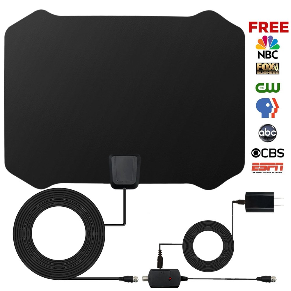 HDTV Antenna,160 Mile Range Indoor/Outdoor TV Antenna HD with Omni-directional 360 Degree Reception for FM/VHF/UHF,Tools-free Installation,32.8FT Long Coaxial Cable and Weatherproof Lightning Protec