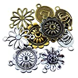 JulieWang Wholesale bulk lot mixed Flower Round Charm Connector pendants 25pcs for Handmade jewelry making