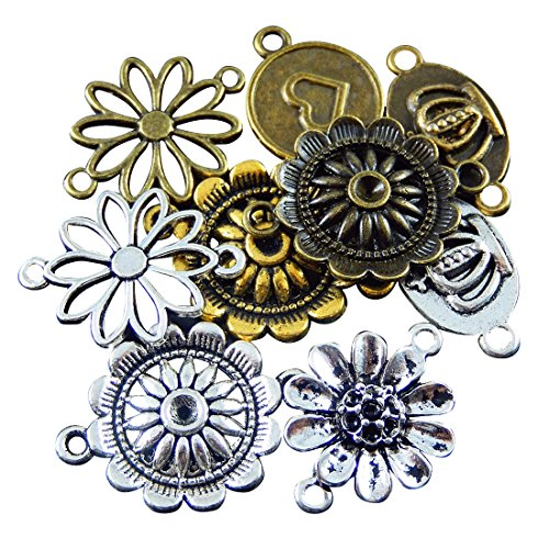 JulieWang Wholesale bulk lot mixed Flower Round Charm Connector pendants 25pcs for Handmade jewelry (Round Flower Connector)