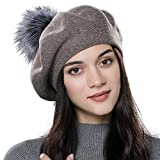 EJOYFUR French Beret Hats,Wool Solid Color Berets,Soft Lightweight Casual Hat,Double Layer Beanie Hat for Womens Winter