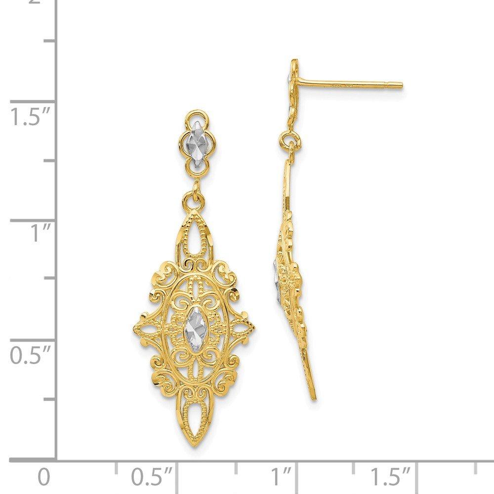 14kt Rhodium Diamond-cut Filigree E